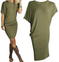 Asymmetric Short Sleeve Pure Color Sexy Bodycon Short Dress - Oh Yours Fashion - 1