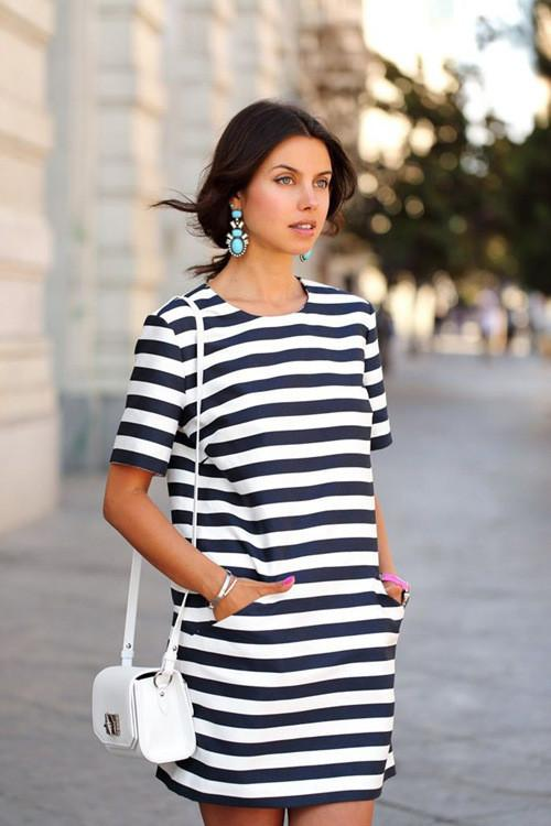 Stripe O-neck Short Sleeve Short Dress - Meet Yours Fashion - 1