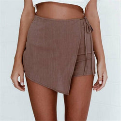 Irregular Crossover Bandage Thin Hot Shorts - Meet Yours Fashion - 1