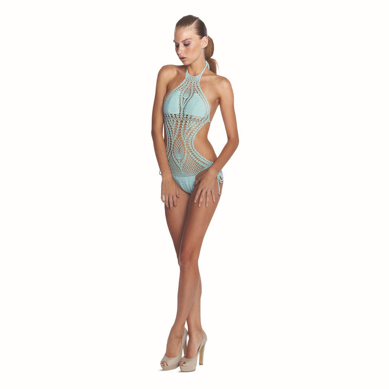 Hollow Knit Halter Mesh Strappy Monokini Swimwear - Meet Yours Fashion - 2