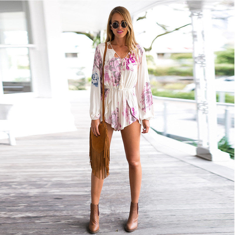 V-neck Lace Up Long Sleeves Print Short Jumpsuit - Oh Yours Fashion - 4