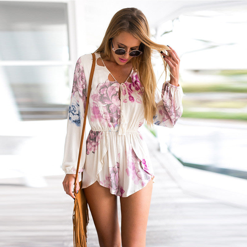 V-neck Lace Up Long Sleeves Print Short Jumpsuit - Oh Yours Fashion - 3