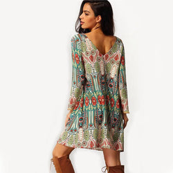 Print O-neck Open Back Long Sleeve Short Dress - Oh Yours Fashion - 1
