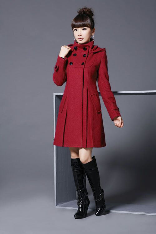 Hooded High Neck Button Slim Long Sleeves Mid-length Coat - Oh Yours Fashion - 4