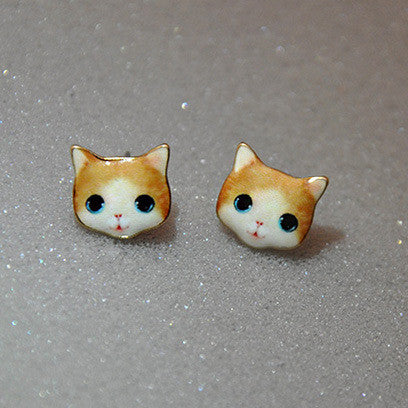 Korea Style Cute Cat Face Earrings - Oh Yours Fashion - 7