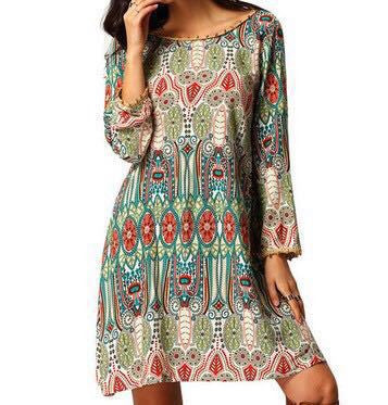 Print O-neck Open Back Long Sleeve Short Dress - Oh Yours Fashion - 3