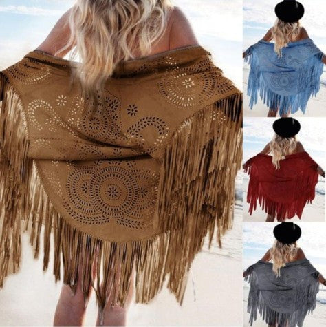 Fashion Bohemia Style Hollow Out Tassel Shawl Cardigan