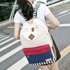 Contrast Color Women's Casual Canvas Backpack Bag - Oh Yours Fashion - 6