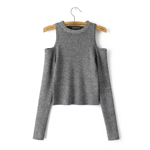 Dew Shoulder Thread Long Sleeve Short Sweater - Oh Yours Fashion - 1