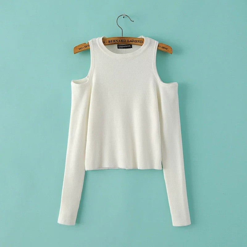 Dew Shoulder Thread Long Sleeve Short Sweater - Oh Yours Fashion - 4