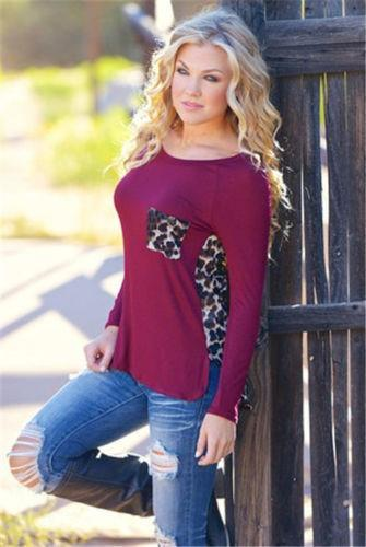 Scoop Leopard Print Long Sleeves Pockets Blouse - Meet Yours Fashion - 2