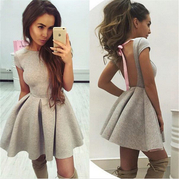 Backless Bow-Knot A-line Short Pleated Skater Dress - Oh Yours Fashion - 1