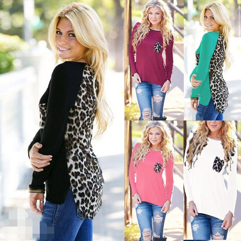 Scoop Leopard Print Long Sleeves Pockets Blouse - Meet Yours Fashion - 1