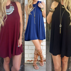 Pure Color O-neck Sleeveless Loose Short Dress - Oh Yours Fashion - 1