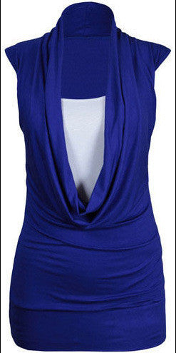Two Pieces Drop Collar Sleeveless Casual Pure Color Blouse - Oh Yours Fashion - 9