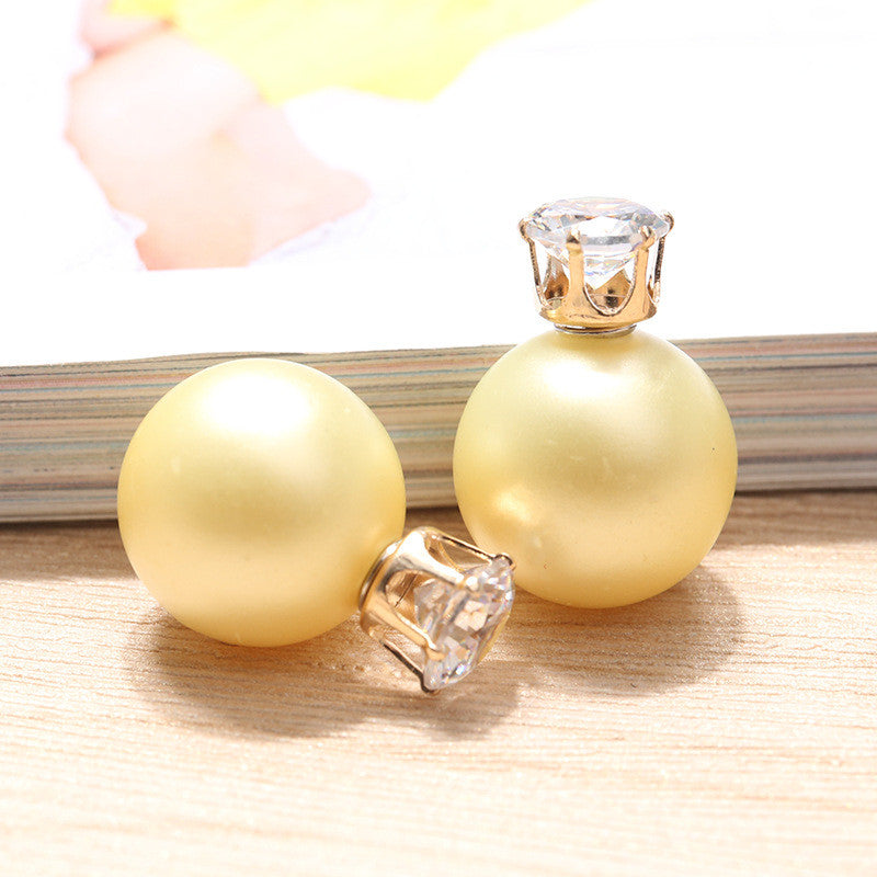 Zircon Crystal Candy Double Side Pearl Earring - Oh Yours Fashion - 16