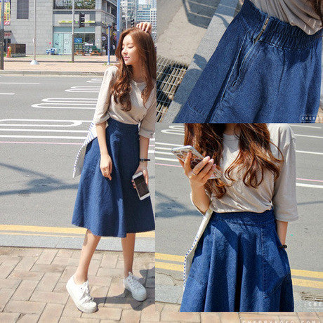 A-line Flared Pleated Slim Denim Middle Skirt - Oh Yours Fashion - 1