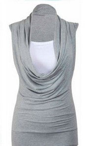 Two Pieces Drop Collar Sleeveless Casual Pure Color Blouse - Oh Yours Fashion - 4