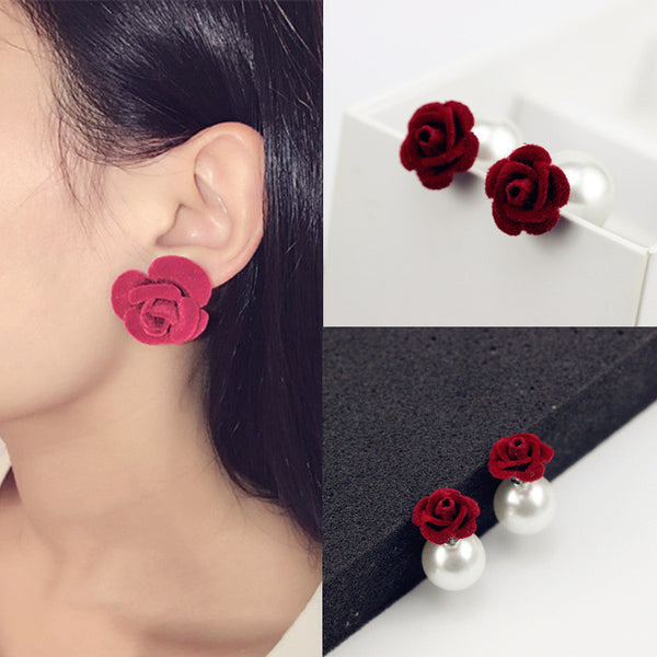 Velvet Frosted Roses Pearl Earrings - Oh Yours Fashion - 1