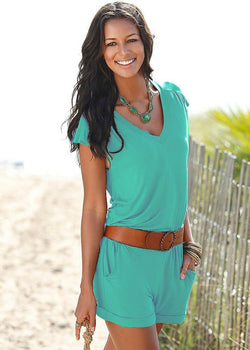 Short sleeves V-neck Spilt Sexy Beach Loose jumpsuits - Meet Yours Fashion - 2