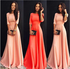 Slim Pure Color 3/4 Sleeves Pleated Long Maxi Dress - Oh Yours Fashion - 4