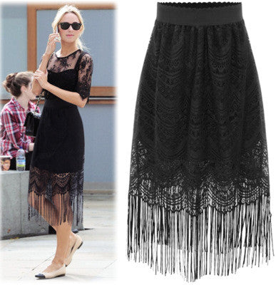 Lace Tassel Solid Bodycon Slim Long Skirt - Oh Yours Fashion - 1