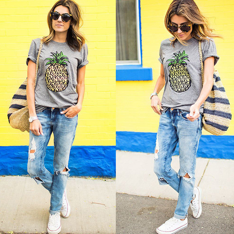 Scoop Fruit Flower Print Slim Fashion T-shirt - Oh Yours Fashion - 1
