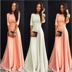Slim Pure Color 3/4 Sleeves Pleated Long Maxi Dress - Oh Yours Fashion - 5