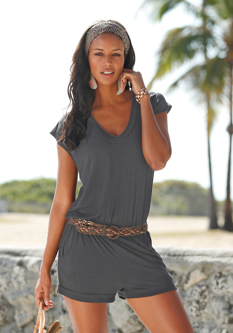 Short sleeves V-neck Spilt Sexy Beach Loose jumpsuits - Meet Yours Fashion - 8