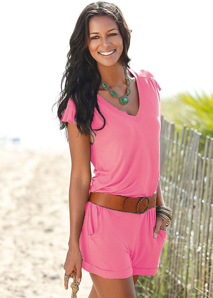Short sleeves V-neck Spilt Sexy Beach Loose jumpsuits - Meet Yours Fashion - 5