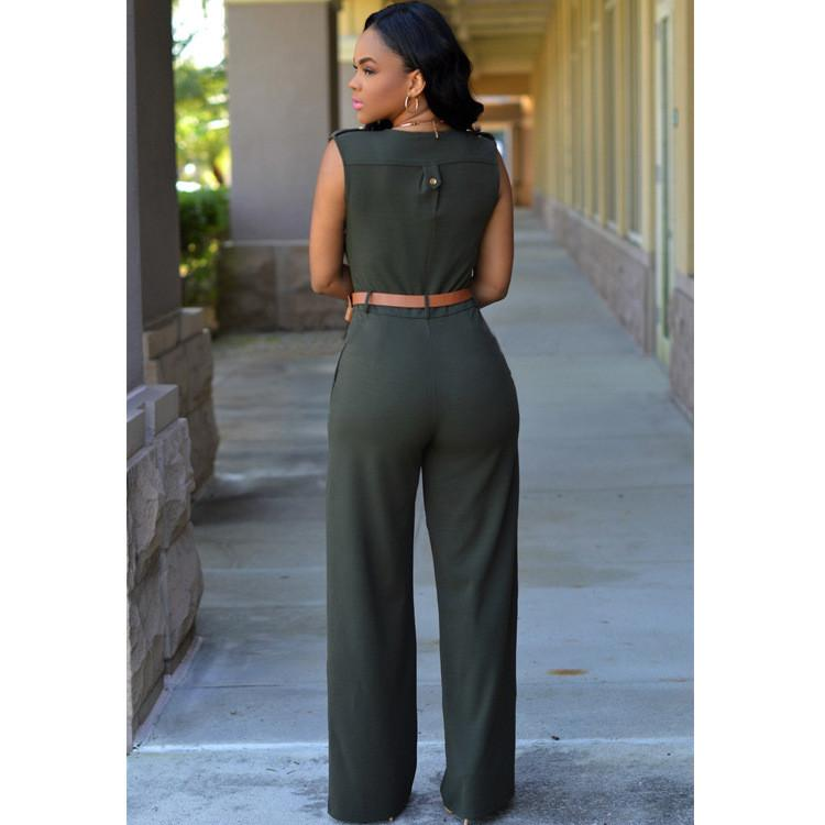 Irregular V-neck Sleeveless Wide Leg Pants Belt Long Jumpsuits - Meet Yours Fashion - 13