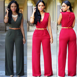 Irregular V-neck Sleeveless Wide Leg Pants Belt Long Jumpsuits - Meet Yours Fashion - 1