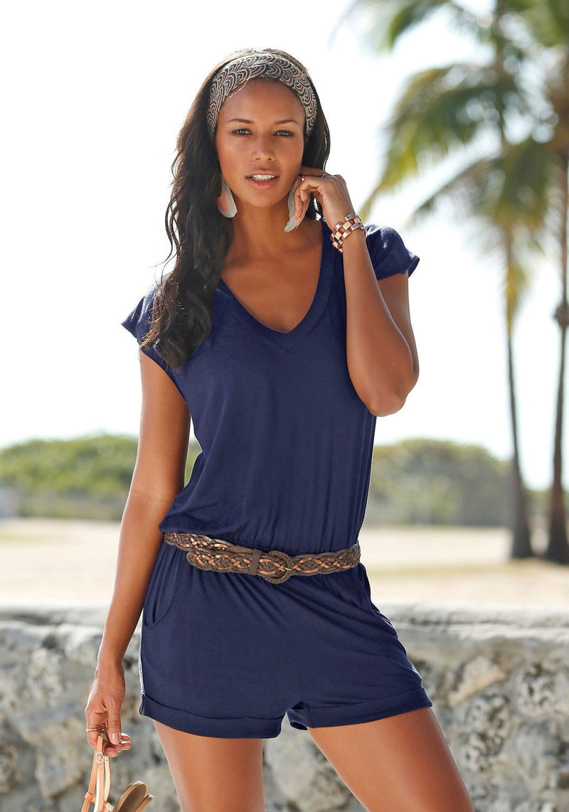 Short sleeves V-neck Spilt Sexy Beach Loose jumpsuits - Meet Yours Fashion - 6