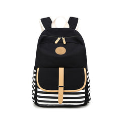 Stripe Print Canvas Backpack School Travel Bag - Oh Yours Fashion - 2