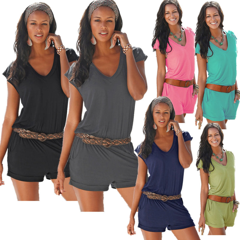 Short sleeves V-neck Spilt Sexy Beach Loose jumpsuits - Meet Yours Fashion - 1