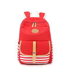 Stripe Print Canvas Backpack School Travel Bag - Oh Yours Fashion - 5