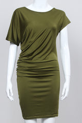 Asymmetric Short Sleeve Pure Color Sexy Bodycon Short Dress - Oh Yours Fashion - 7