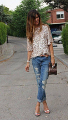 1/2 Sleeves Sequin Casual Loose Sexy Club Blouse - Oh Yours Fashion - 2