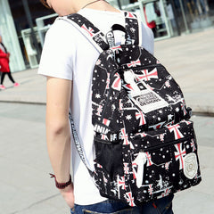British Simple Students Words Printed Travel Backpack - Oh Yours Fashion - 2
