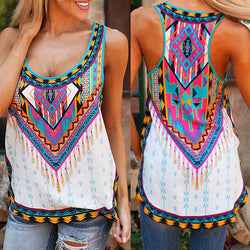 Bohemian Sleeveless Scoop Flower Print Sexy Vest - Oh Yours Fashion - 1