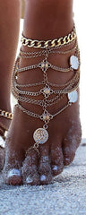Beautiful Coin Multi-layer Tassel Anklet - Oh Yours Fashion - 4