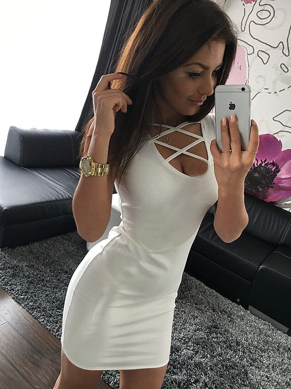 Sexy Pure Color O-neck Sleeveless Short Dress - Oh Yours Fashion - 4
