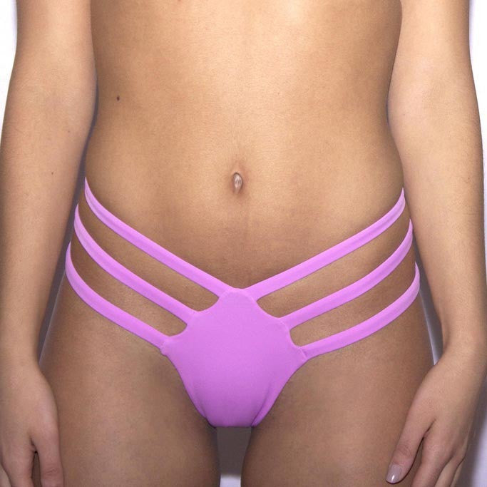 Pure Color Bandage Triangle Bikini Trunk - Oh Yours Fashion - 1