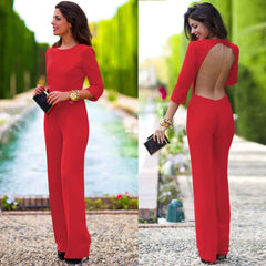 Pure 3/4 Sleeves Scoop Brief Slim Backless Long Jumpsuits - Oh Yours Fashion - 1