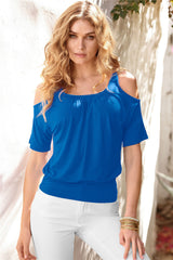 Casual Dew Shoulder Short Sleeve Pure Color Blouse - Oh Yours Fashion - 7
