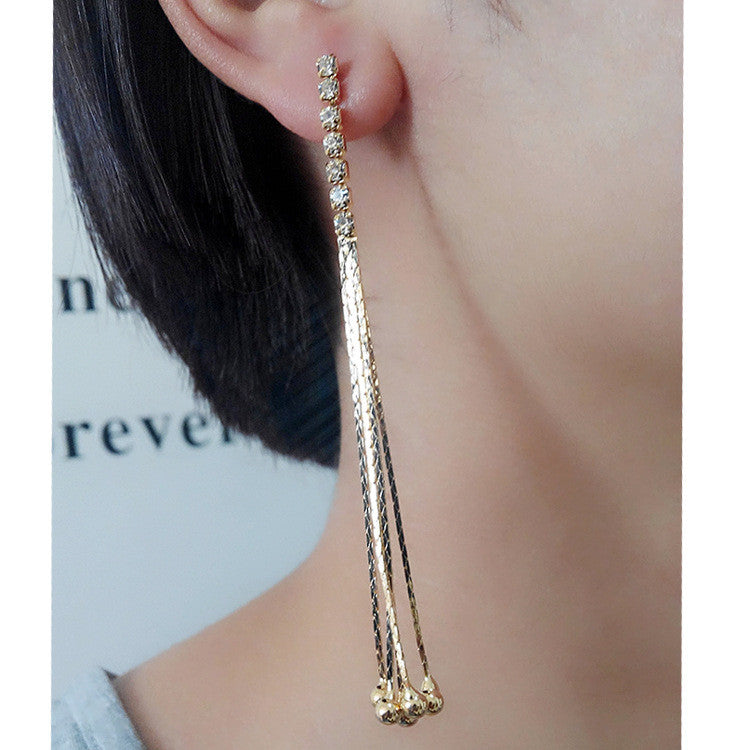 Exaggerated Crystal Tassels Party Earrings - Oh Yours Fashion - 40