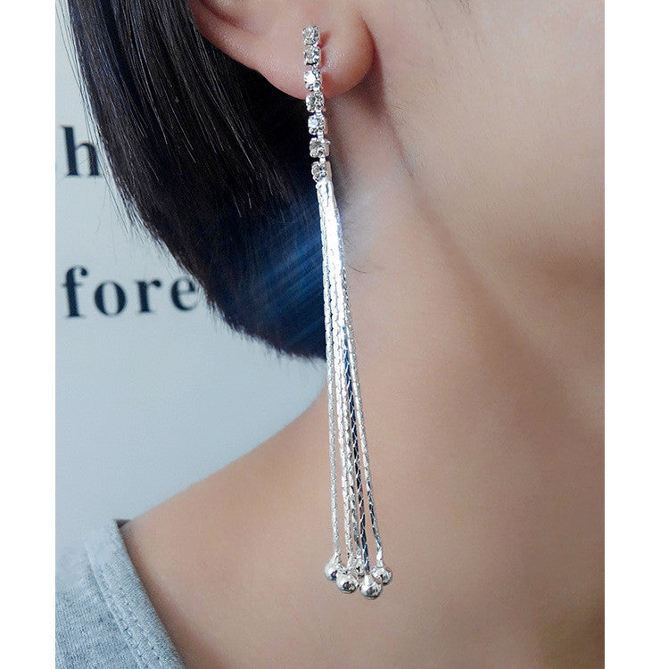 Exaggerated Crystal Tassels Party Earrings - Oh Yours Fashion - 39