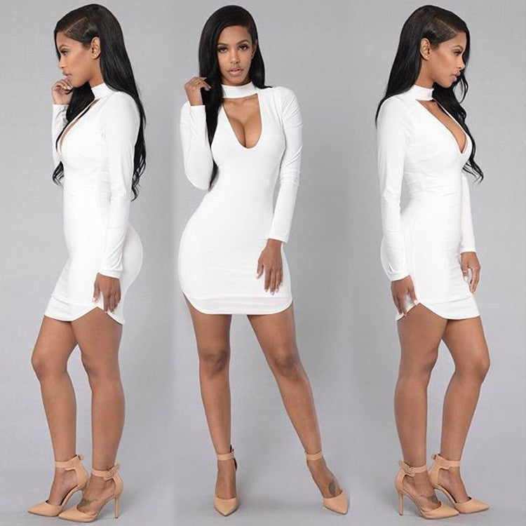 Pure Color High Neck Hollow Out Bodycon Irregular Short Dress - Oh Yours Fashion - 1