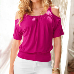 Casual Dew Shoulder Short Sleeve Pure Color Blouse - Oh Yours Fashion - 8