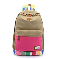 Contrast Color Women's Casual Canvas Backpack Bag - Oh Yours Fashion - 3